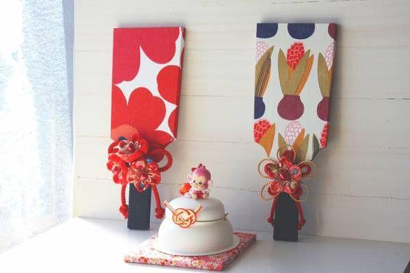 ハンドメイド マリメッコ ルシア お正月飾り 羽子板 つまみ_右*ルシアの羽子板*1点分のお値段です
