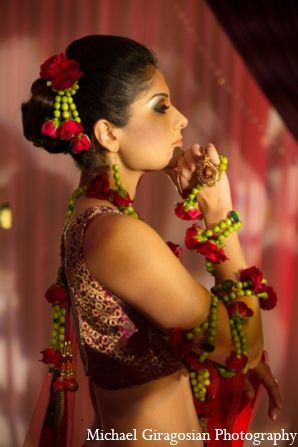 Traditional Indian bridal jewelry and accessories made from flowers by Suhagg Garden event decor and floral.
