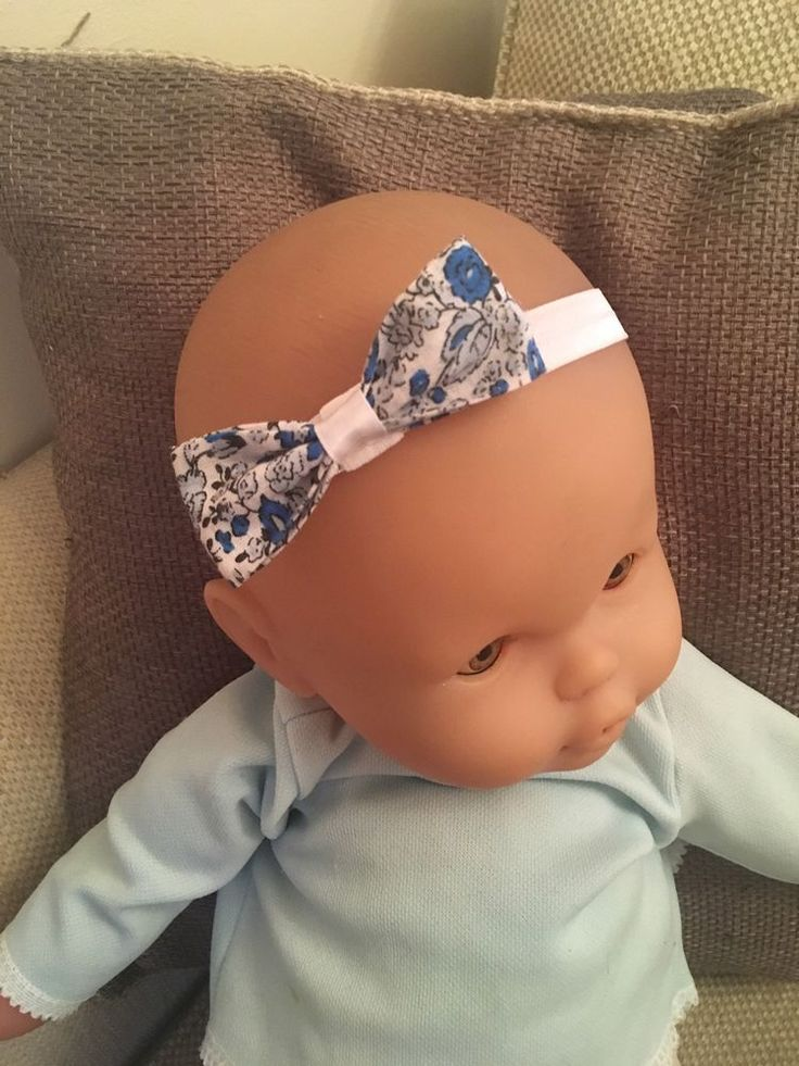 Blue Floral Baby Headband Blue  White Bow Elastic Girl Hair Accessory Exclusive    eBay