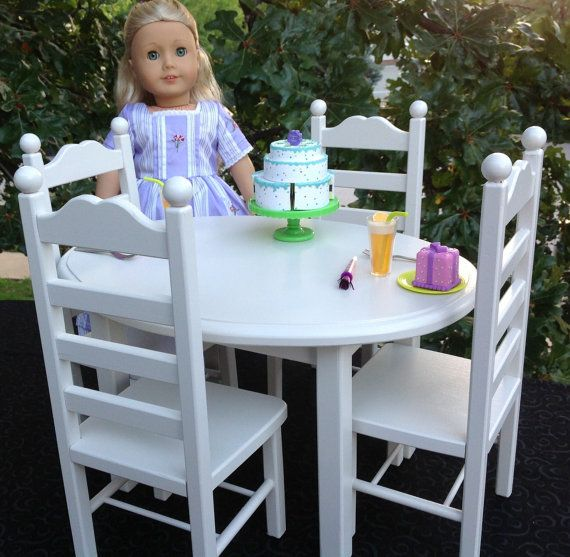 american girl doll furniture oval table and 4 chair set white girl dolls table and chairs. Black Bedroom Furniture Sets. Home Design Ideas