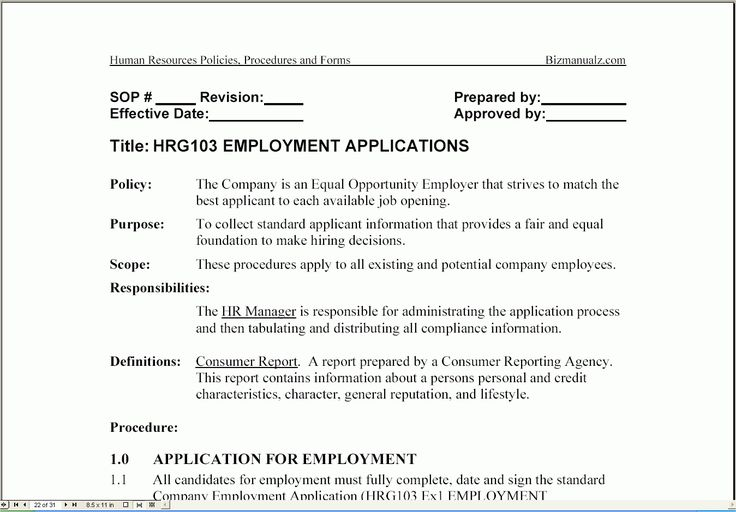 Bizmanualz Human Resources Policies Procedures Forms With Procedure Manual Template Word Free Be Word Free Free Printable Resume Templates Human Resources