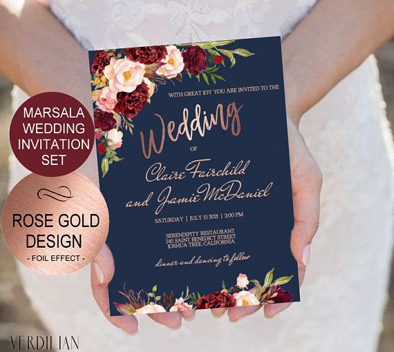 Navy Marsala Rose Gold Wedding Invitation Template Set Watercolor