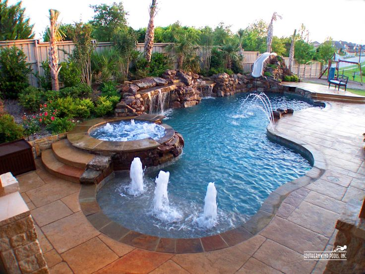 Best 25 pool waterfall ideas on pinterest grotto pool outdoor pool and pool with slide - Swimming pool designs with slides ...