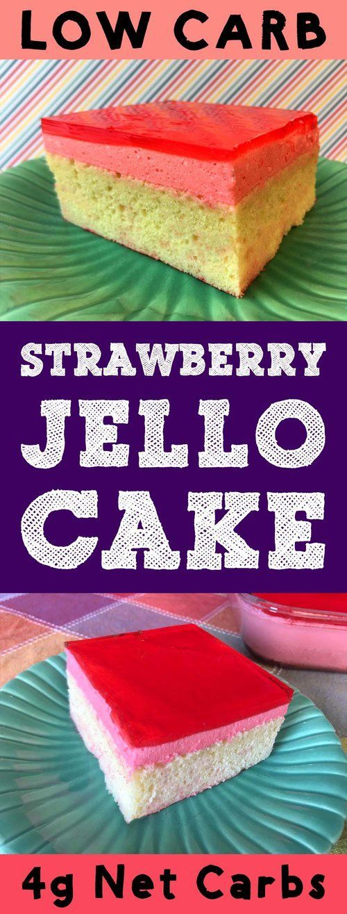 This Low Carb Strawberry Jello Cake is a layer of vanilla cake, topped with strawberry mousse filling with a layer of strawberry glaze on top. It's Atkins, Banting, THM, LCHF, Keto, Sugar Free and Gluten Free. It's also super delicious. #Lowcarb #lowcarbd