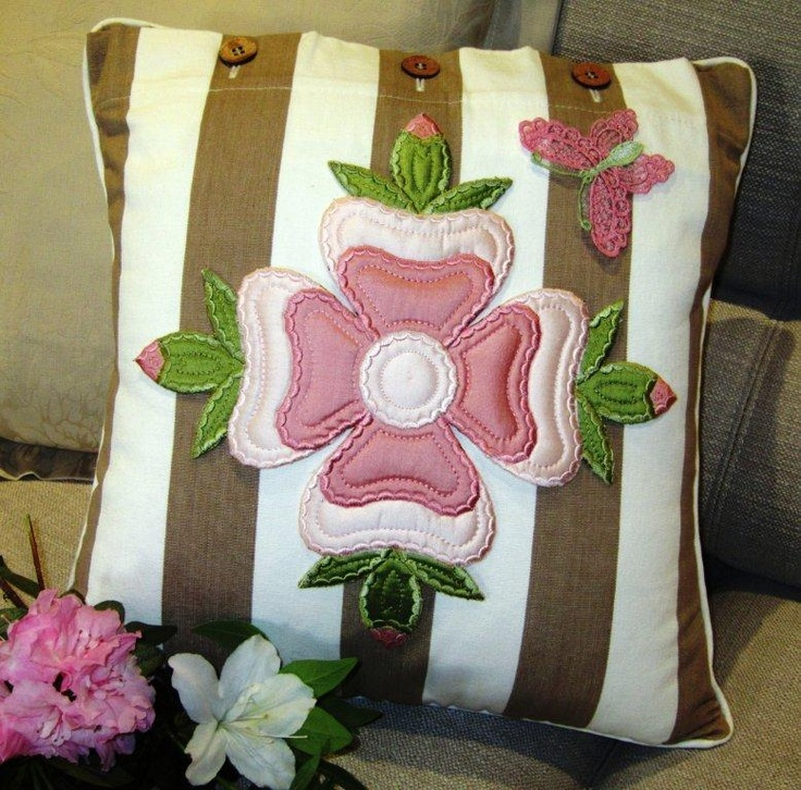 """Amazing how applique can transform an ordinary striped cushion! Designs from Jenny's latest book """"A Place in the Sun"""""""