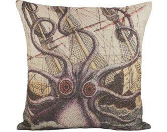 "Octopus Pillow Cover, Nautical Cushion, Sea, Beach Pillow, Aquatic Ship Pillow, Decorative Throw Pillow, 16"""