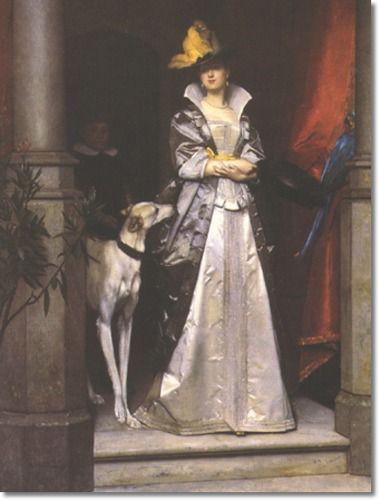 Belgian artist Florent Willems (1823-1905): An Elegant Lady with Greyhound