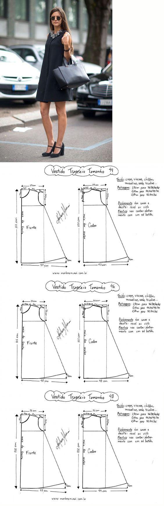 Molde vestido trapézio 44