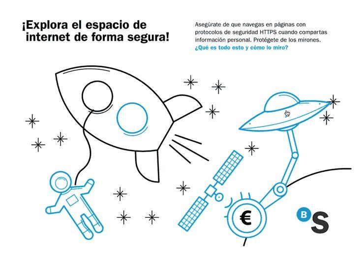 Infografía, interactiva, ilustración, espacio, ovni, satélite, cohete, seguridad informática, ciberseguridad, curso online, Banc Sabadell. Pixtin.