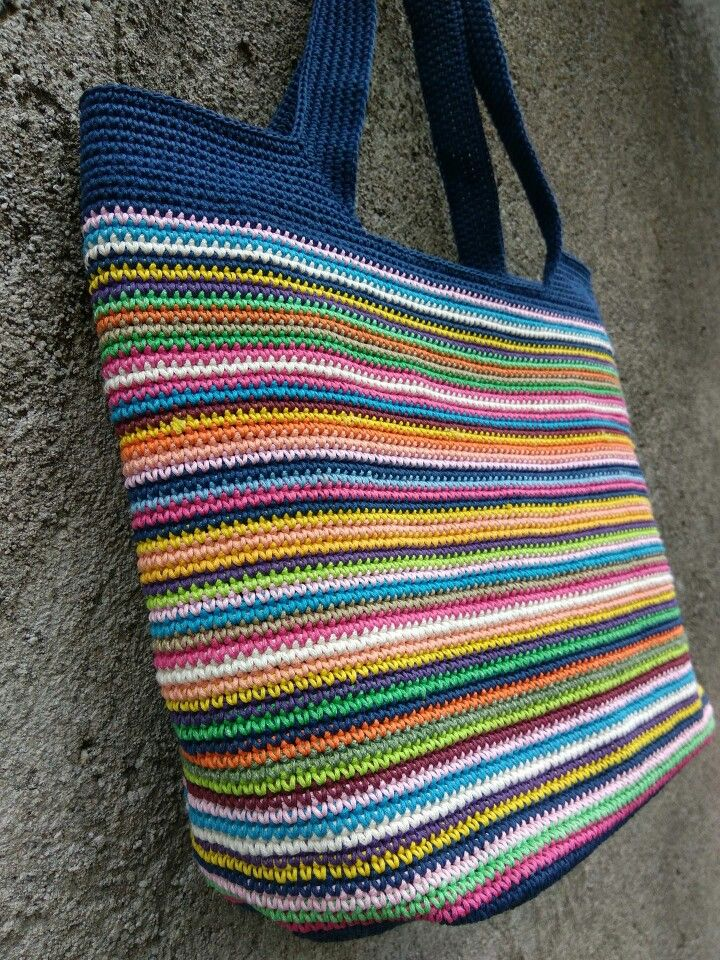 Strips crochet bag made from waced cotton cord 1 mm