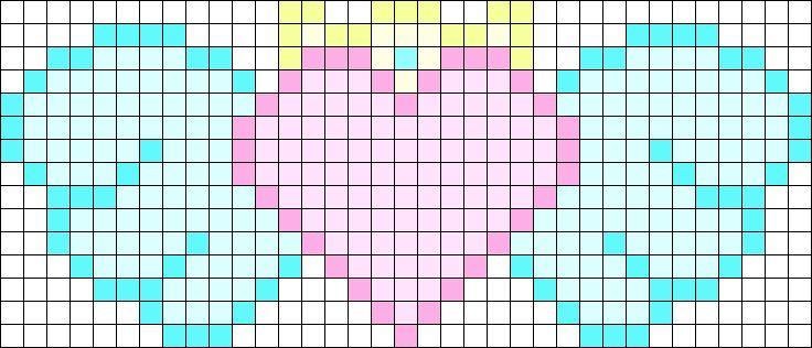 Kawaii Winged Heart Test Perler Bead Pattern / Bead Sprite
