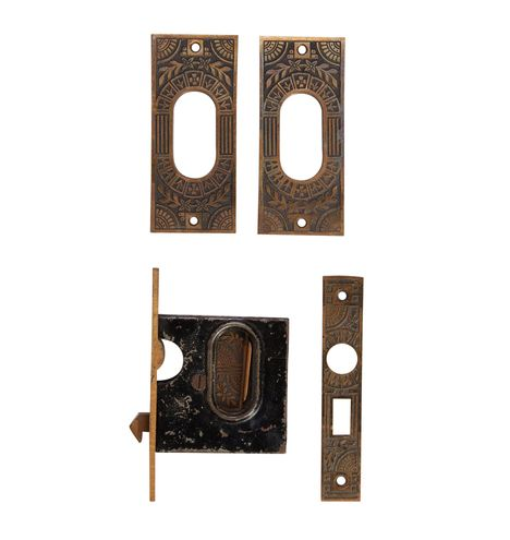 Ornate Cast Pocket Door Pulls w/ Mortise Lock