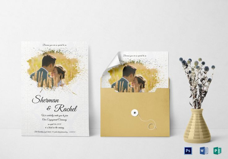 Modern Engagement Invitation Template  Formats Included : MS Word, Photoshop, Publisher File Size : 5.25x7.25 Inchs   Product Details: $9.99  #WeddingInvitationDesigns
