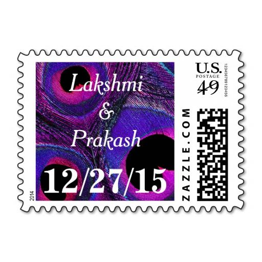 Customized / personalized #peacock #feather #name and #date #postage #stamps in #purple #hot #pink, #fuchsia, #lavender, #violet, #gray, #black and #blue. Spice up your #wedding, shower, engagement party, vow renewal, and anniversary invitations, announcements, save the dates, thank you notes, correspondence, and cards. Available horizontal or vertical format, in different mailing $ denominations, different color combinations, and other matching items.
