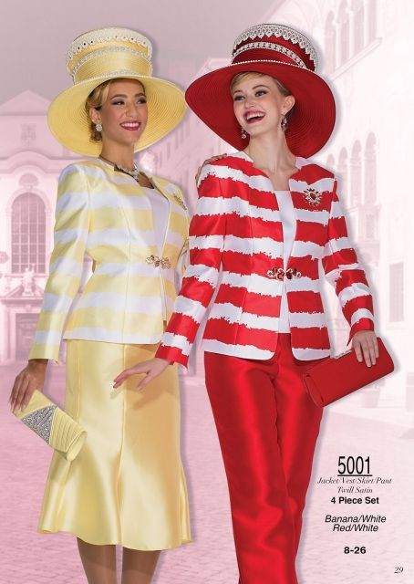 Champagne Italy 5001 4pc Wardrobe (pant, skirt, vest, jacket) Color: Banana/White, Red/White Sizes: 8, 10, 12, 14, 16, 18, 20, 22, 24, 26 Matching Champagne Italy Hat/Purse Combo 5001H http://www.divasdenfashion.com/Champagne-Italy-5001-p/cha-5001.htm #DivasDenFashion #ChampagneItaly #Champagne #Spring #Banana #White #Red