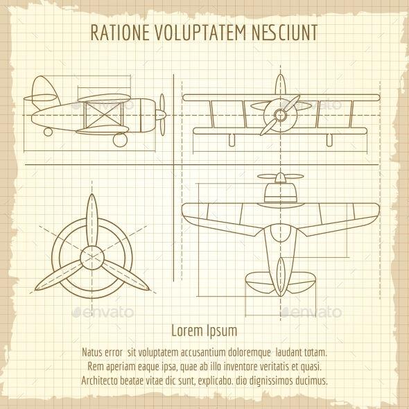 Aircraft Retro Blueprint Drawing