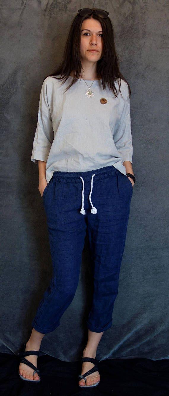 Linen/Cotton Pale Grey Top Loose Kimono Handmade Blouse