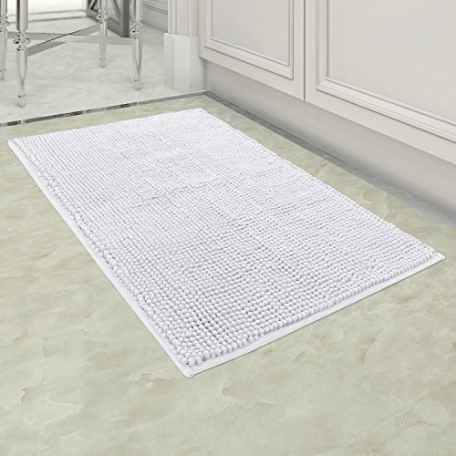 """Norcho 32""""x20"""" Soft Bath Mat Non Slip Microfiber Shaggy Chenille Bath Rugs Bathroom Shower Mats White - Specification: Color: White Surface Material: soft microfiber chenille Back MaterialL: PVC anti-slip rubber Bath Rug Size: 20 inch x 32 inch (LxW) Note: Due to the differences in computer monitors, actual products may have a slight color difference with the picture; For the different manual measu..."""