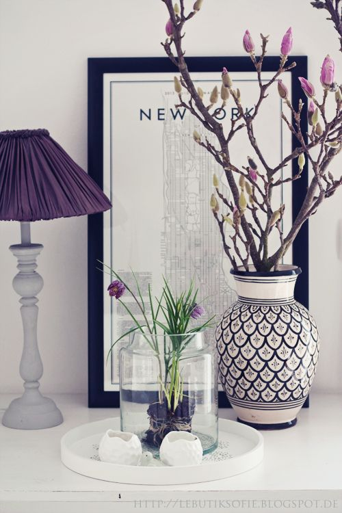 dark purples, white, grey and a little bit of green. I love it. Side table ideas. Perfect for a smooth purple bedroom look.