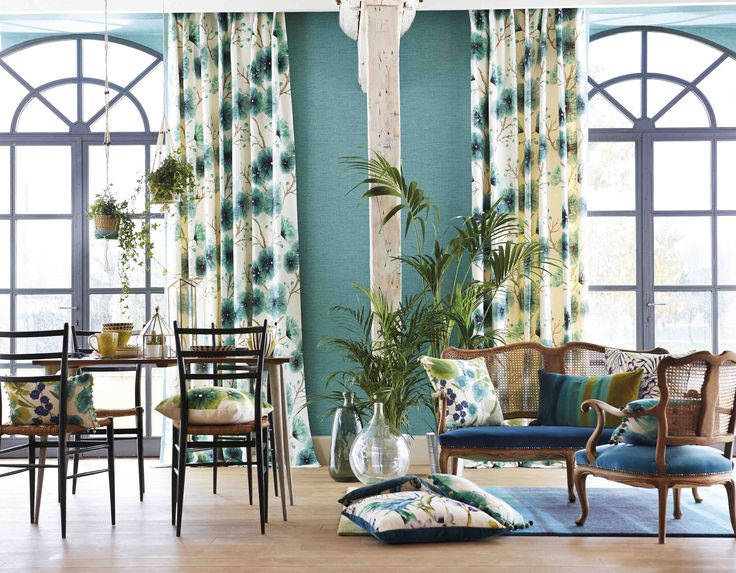 Harlequin's Kabala fabric is a tonal floral trail inspired by exotic flowers.