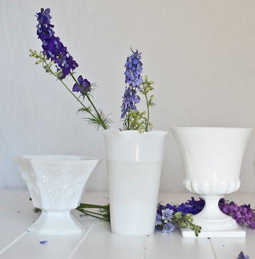 Vintage Milk Glass Goblets perfect for floral arrangements