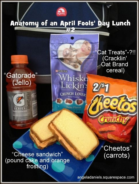 """A full lunch of April Fools' Day tricks (and treats). Love the """"cat treats"""" most! From my blog at angeladaniels.squarespace.com"""