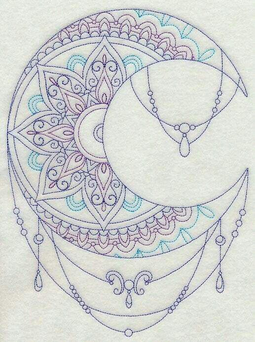 "Mehndi Moon - I love the shape, colors, and the dangly things in this one. I also love the design within the moon. The ""mandala"" part of it is gorgeous."