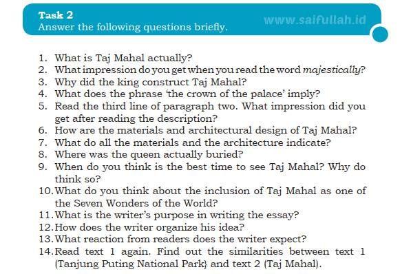 Kunci Jawaban Soal Bahas Inggris Chapter 4 Task 2 Halaman 59 Taj Mahal Inggris Halaman Construction