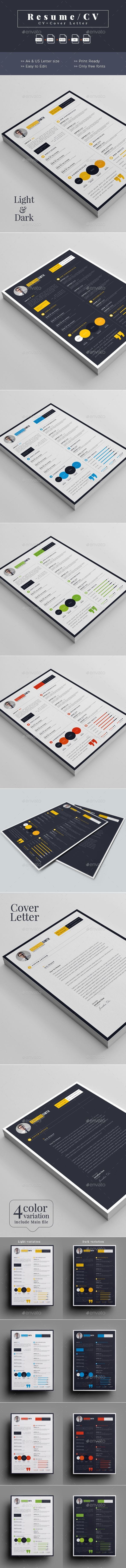 Resume / CV Template PSD, Vector EPS, InDesign INDD, AI Illustrator, MS Word