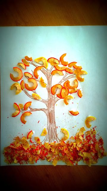 Herfstboom met puntenslijpsel / Pencil shavings fall tree craft for kids - genius!