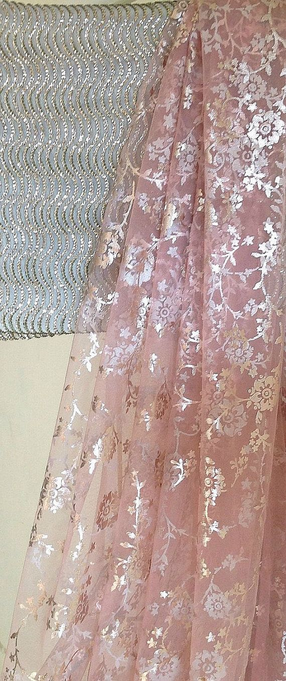 Blush pink tulle net saree with silver print by GiaExquisiteIndian