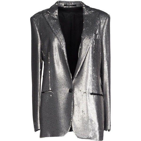 Tagliatore 02-05  Blazer ($465) ❤ liked on Polyvore featuring outerwear, jackets, blazers, silver, stretch blazer, tagliatore, long sleeve jacket, blazer jacket and sequin blazer