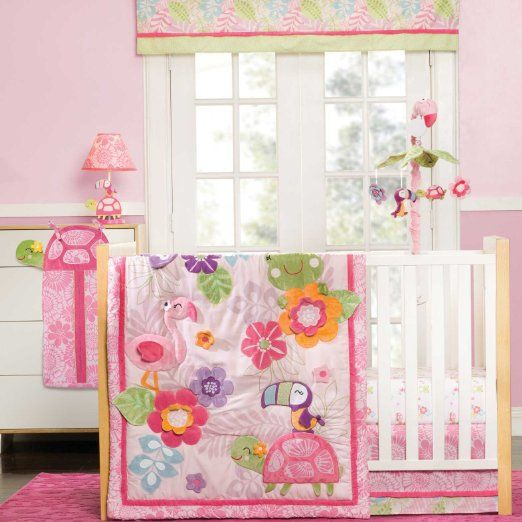Carter's Tropical Garden 4 Piece Crib Bedding Set plus Carter's 3-Ply Mattress Pad