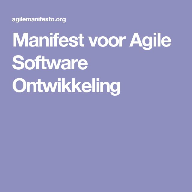 Manifest voor Agile Software Ontwikkeling