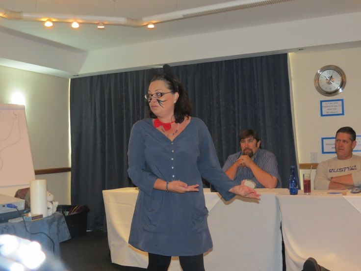 Who moved my cheese!  Michelle Vooght deep in role.  #TurnItAround Workshop - 3rd May 2014.  Held at the Dolphin Beach Hotel.