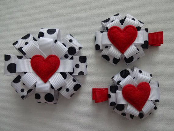 Black and White Polka Dot Heart Hair Bow by marimaricollection