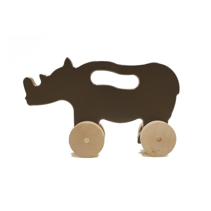 Blue Almonds | Rhino Push Toy in Brown