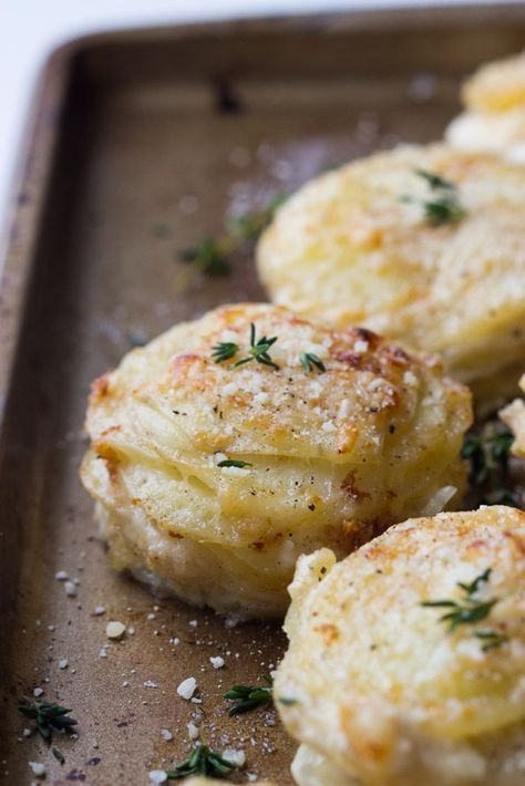 Creamy Potato Stacks with Garlic, Thyme, and Parmesan