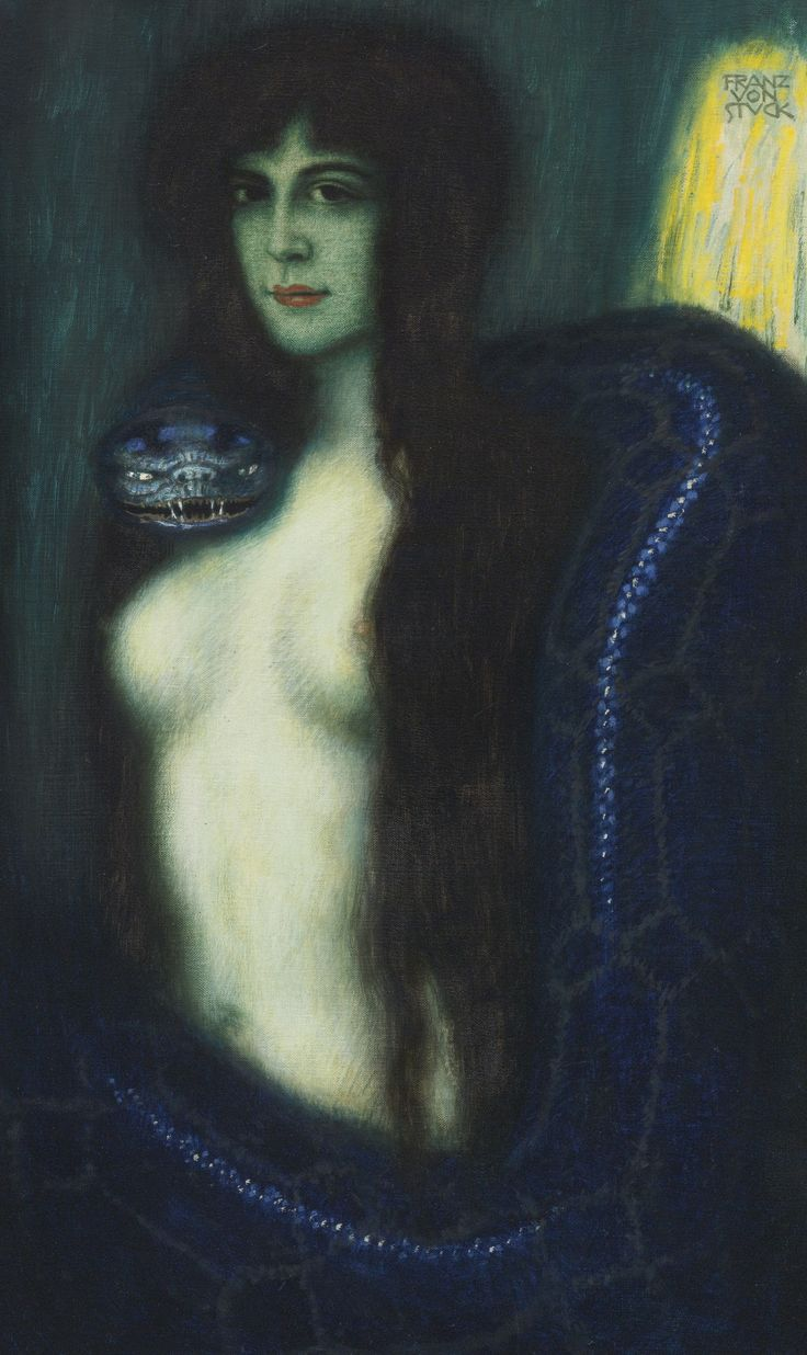Franz von Stuck 1863 - 1928 GERMAN DIE SÜNDE (THE SIN) signed FRANZ VON STUCK (upper right) oil on canvas 35 1/2 by 21 in. 90.2 by 53.3