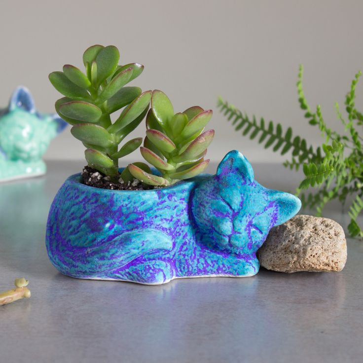 Kitty planter, ceramic succulent planter, handmade pottery planter, velvet purple blue Ceramic plant pot, cat lover gift - READY TO SHIP
