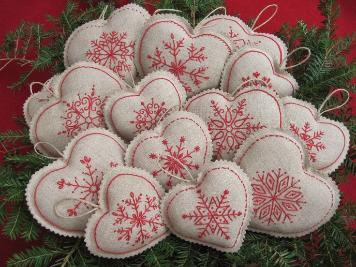 Embroidered Snowflake Linen Heart Christmas Ornaments