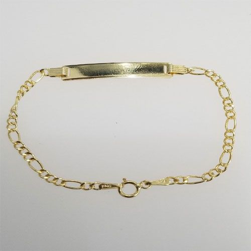 Real 10k Yellow Gold 2 5 Mm 6 Inch Figaro Link Chain Child Kid Baby Id Bracelet By Rg D Id Bracelets Gold Figaro Link Chain