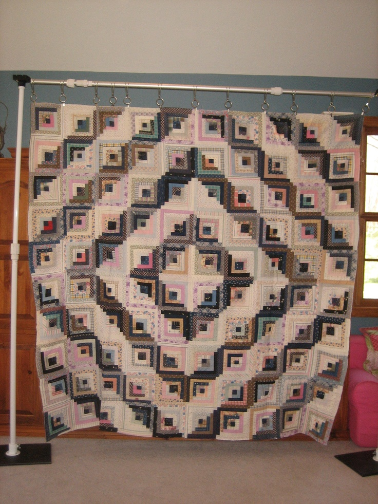 """Log Cabin Quilt Top, @78""""x78"""" in the Barn Raising Pattern. This is hand pieced onto a foundation, and the blocks are hand pieced together. It is not quilted."""