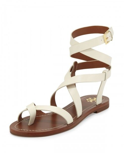 Tory+Burch+Patos+Crisscross+Leather+Sandals+Ivory+Women's+6+5b+36+5b+|+Shoes+and+Footwear