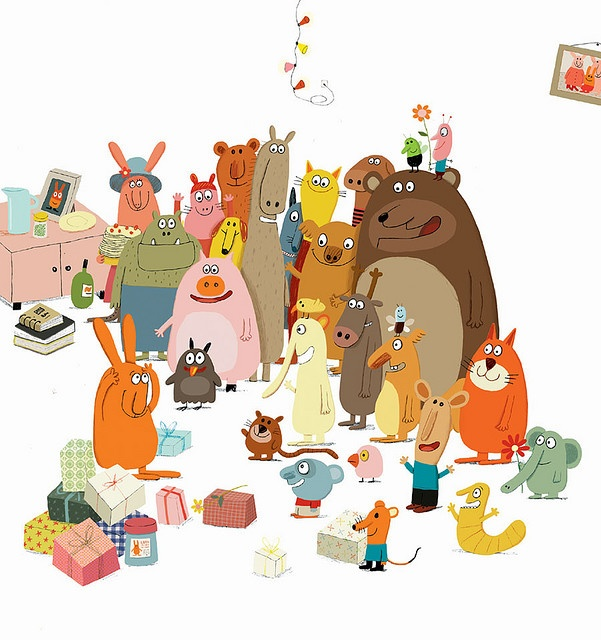 Illustration from Big Rabbit's Bad Mood, a current family favorite.  Illustrated by Delphine Durand.