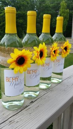 This is how I asked my bridesmaids :) wine bottles with printed labels and burlap, lace and sunflower details Country wedding burlap wine bottles, will you be my bridesmaid invite, sunflower wedding, rustic wedding, burlap, lace, sunflower https://www.etsy.com/listing/124619800/6-custom-wedding-be-my-bridesmaid-wine?ref=related-1