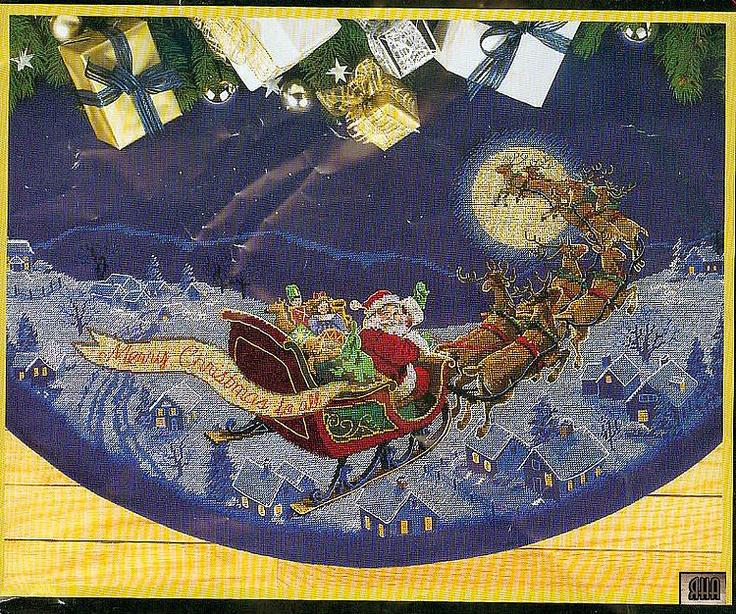Gallery.ru / Фото #1 - 8 - IannaD X-stitch Here Comes Santa Tree Skirt free pattern
