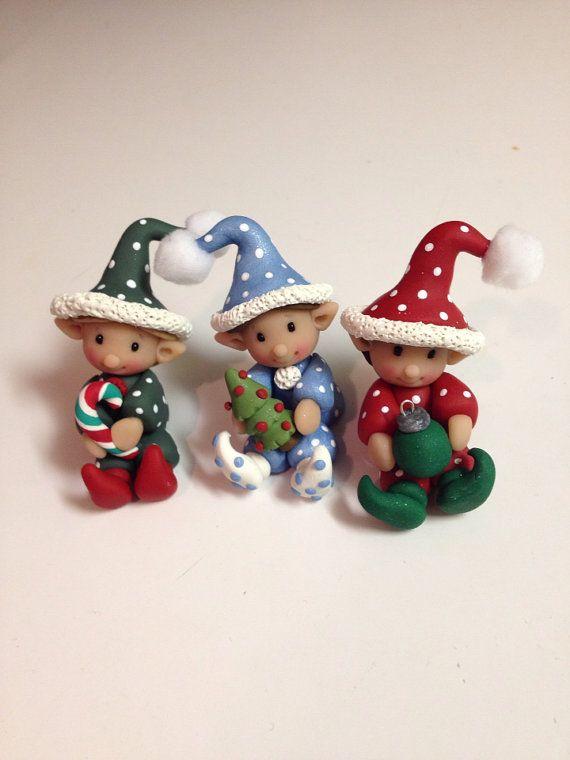 Elf-Navidad polímero estatuilla de arcilla por Whimsybydesign1