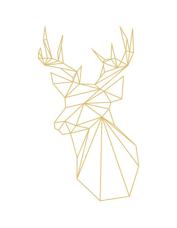 INSTANT DOWNLOAD: Gold Printable Geometric Deer Poster Print If you want the poster in the international ISO standard (A3 etc.), please click