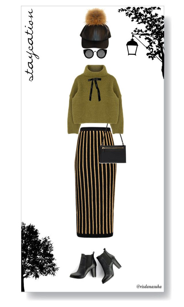"""""""Staycation"""" by risdanasuha ❤ liked on Polyvore featuring Balmain, SWEET MANGO, Chanel, Quay, winterstyle, blizzard and wintercabin"""